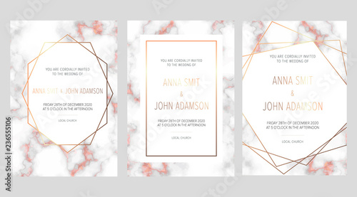Luxury Wedding Invitation Cards With Rose Gold Marble Texture And