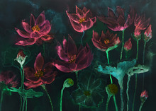 Pink Velvet Lotus Flowers In The Night. The Dabbing Technique Near The Edges Gives A Soft Focus Effect Due To The Altered Surface Roughness Of The Paper..