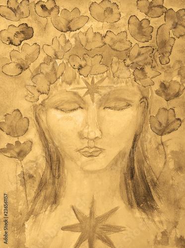 Stampa su Tela Female buddha with lotus flowers in sepia tones