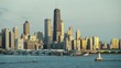 Aerial sunrise view of Navy Pier and city skyscrapers Chicago USA
