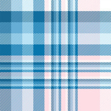 Plaid Pattern In Blue, Pink And White
