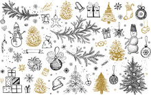 Christmas Pattern In Sketch St...