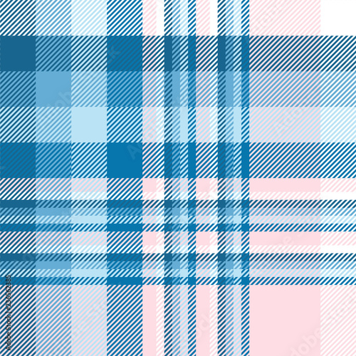 Photo  Plaid pattern in blue, pink and white