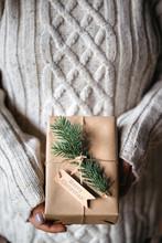 Woman Holding Handmade Christmas Gift