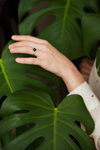 Woman Touches Monstera Leaf