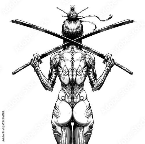 Fotomural Cyborg female samurai with two swords