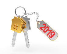 Golden And Silver Keys In The Form Of A House And Text 2019 On Label Isolated On A White Background. 3D Illustration