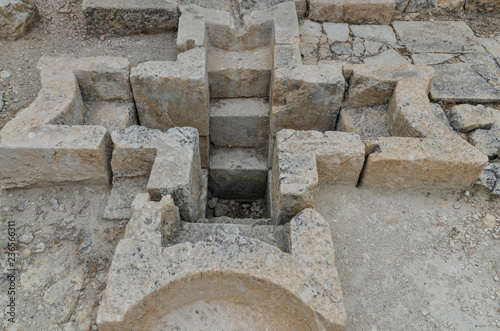 Fotografie, Tablou baptismal pool in baptistery of Alahan monastery  Mut, Mersin province, Turkey
