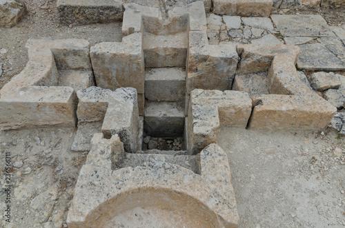 Vászonkép baptismal pool in baptistery of Alahan monastery  Mut, Mersin province, Turkey