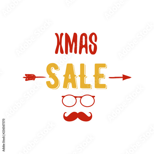 Christmas Arrow.Xmas Sale Typography Overlay With Arrow Santa Glasses And