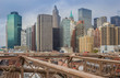View over skyscrapers from the Brooklyn bridge in New York City, USA