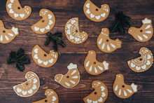 Bird Shaped Decorated Christmas Gingerbread