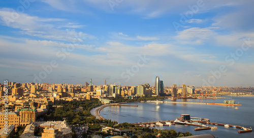 Foto op Canvas Stad gebouw Panorama of the city center of Baku.