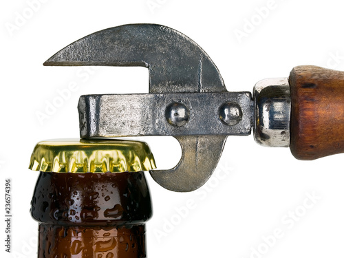 Tuinposter Bier / Cider Close up of stopper of beer bottle and can opener