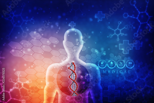 Fotografie, Obraz  3d render of dna structure, abstract background