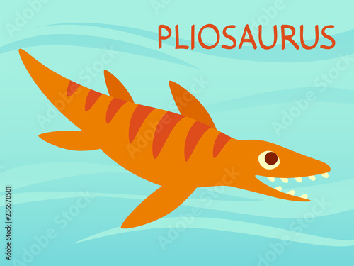 Платно Cute Pliosaur swimming