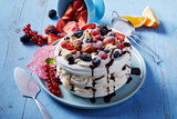 Freshly made Pavlova dessert with meringue