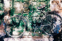 Watercolor Abstract Painting Of Bicycle Beside Wall, Digital Painting