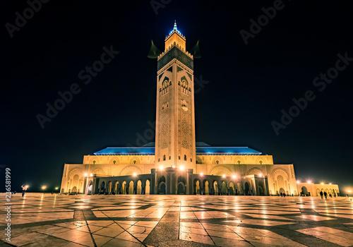Fotografie, Obraz  CASABLANCA, MOROCCO - NOVEMBER 15, 2018: Night view of Mosque of Hassan II in Casablanca