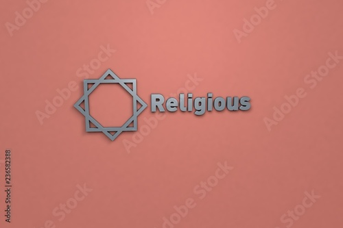 Fotografie, Obraz  Text Religious with grey 3D illustration and red background