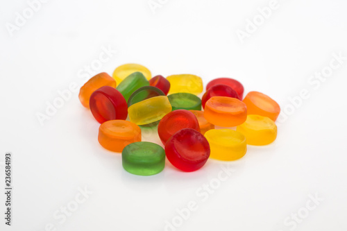 Round gummy candy isolated on white background Canvas Print