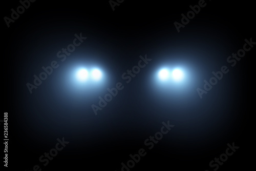 Obraz Car head lights shining from darkness background - fototapety do salonu
