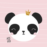 Panda princess with gold glitter crown. Vector hand drawn illustration.