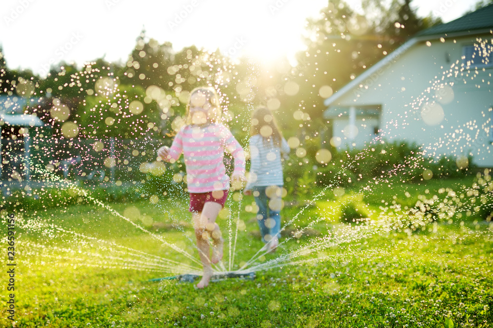 Fototapety, obrazy: Adorable little girls playing with a sprinkler in a backyard on sunny summer day. Cute children having fun with water outdoors.