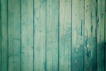 Texture Of Old Blue Green Tree. Wooden Texture Background With Scuffs, Scratches, Peeling Paint. Background With Place For Text.