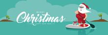 Merry Christmas Banner With Cartoon Santa Claus On His Stand Up Paddle Board In The Tropics. Eps10 Vector Illustration.