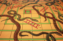 Vintage Antique Snakes And Ladders Board Game
