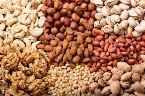 mixed of nuts as background