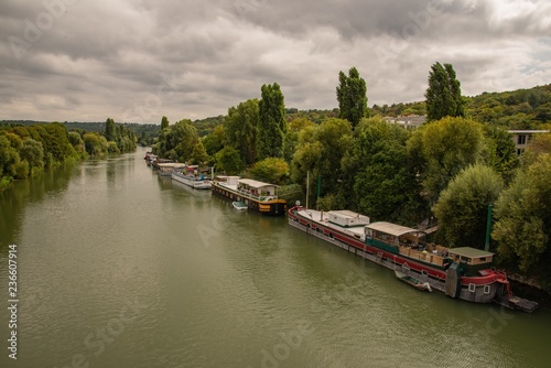 Houseboats On The River Seine Buy This Stock Photo And Explore