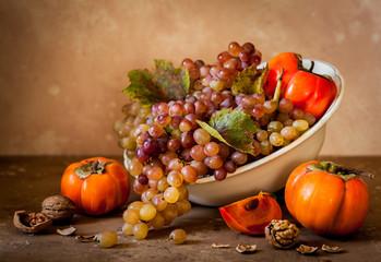 Grape, Persimmon and Walnut Still Life