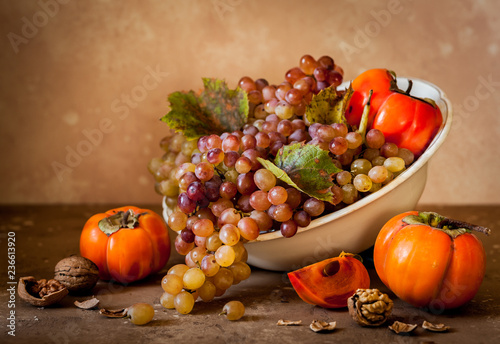 Grape, Persimmon and Walnut Still Life
