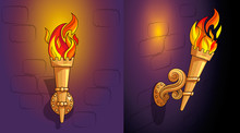 Torches With Burning Fire, The Ornate Decor, Night