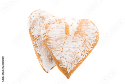 gingerbread heart cookie isolated