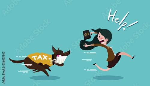Cuadros en Lienzo Business woman carrying dollar and run away the dog in shirt tax, vector cartoon