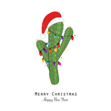 Cactus With Colorful Light Bulb And Santa Claus Hat. Merry Christmas And Happy New Year Greeting Card