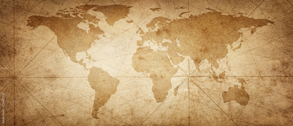 Fototapety, obrazy: Old map of the world on a old parchment background. Vintage style. Elements of this Image Furnished by NASA.