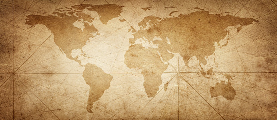Old map of the world on a old parchment background. Vintage style. Elements of this Image Furnished by NASA.