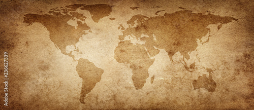 Poster Amérique du Sud Old map of the world on a old parchment background. Vintage style. Elements of this Image Furnished by NASA.