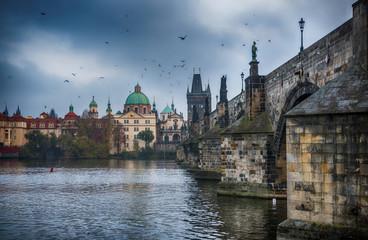 Fototapeta It's evening in the city of Prague. View of the Charles bridge. Czech Republic.