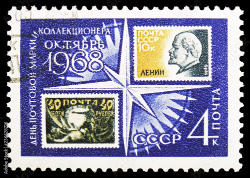 Fotografia  Stamps on Windrose (RU 155 & SU 3044), Stamp Day and Letter Writing Week serie,