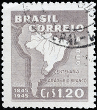 Map Of Brazil On Old Postage S...