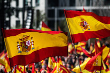 Spanish Flags Waving During A Protest For The Unity Of Spain
