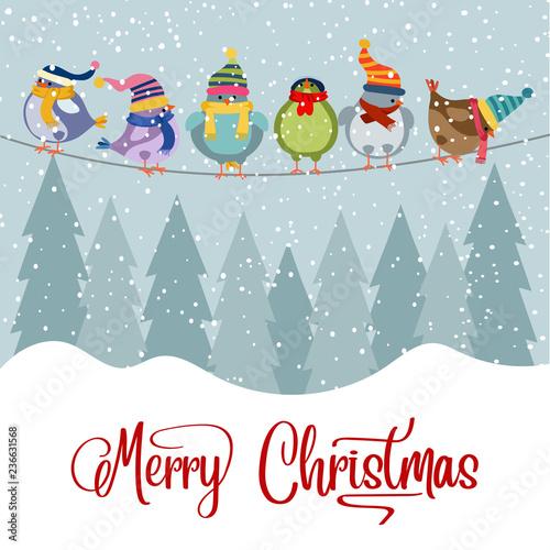 Christmas card with birds Wall mural