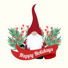 Christmas Card With Tree Branches And Gnome