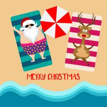 Christmas Card With Santa And ...