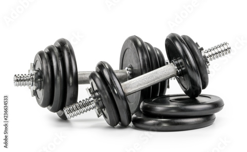 Dumbbells isolated on a white background Fototapeta